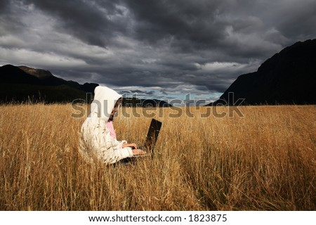 Woman working with laptop.