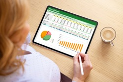Woman working with spreadsheet document on tablet computer