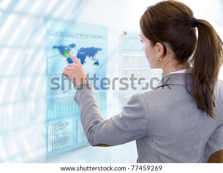 Woman works with future display