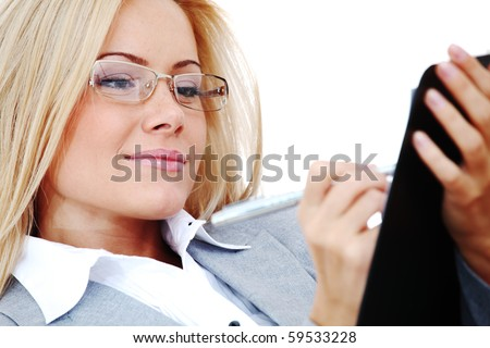 woman wrire a note - stock photo