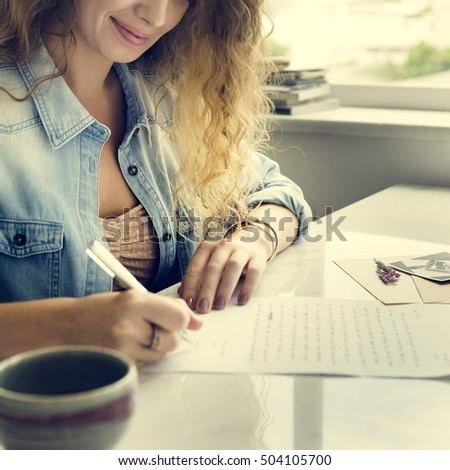 Woman Writing Letter Statement Concept #504105700