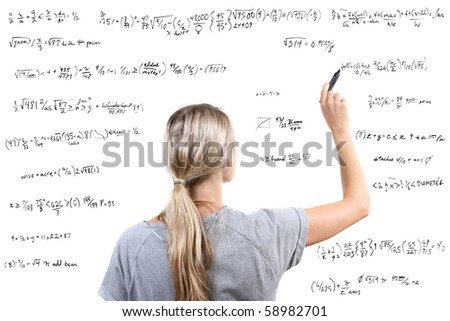 woman writing mathematical equations on white background