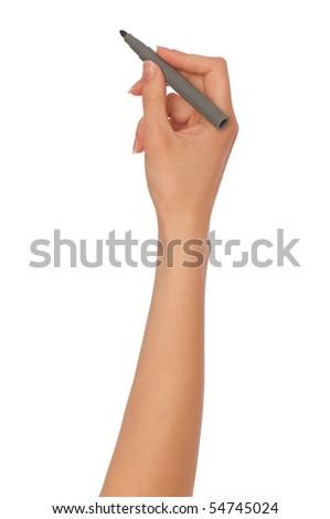 woman writing plan with gray felt-tip pen