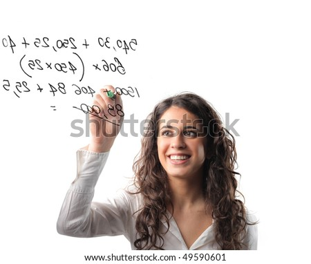 Woman writing some numbers with a marker