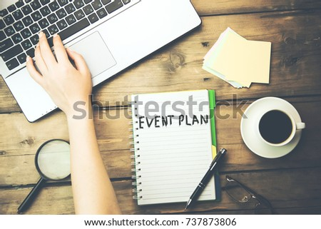 woman written event planing text with working in computer #737873806