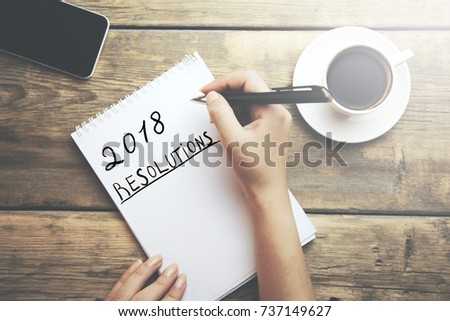 woman written 2018 Resolutions text on page #737149627