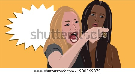 Woman Yelling at a Cat, funny table cat dialogue background premium illustration photo Stock photo ©