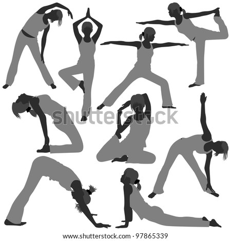 Woman Yoga Exercise Poses Stretch Fitness Healthy Lifestyle
