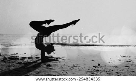 Woman Yoga on the beach black and white