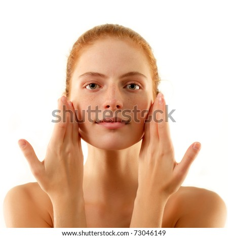 woman young beautiful no make-up touching face with her hands isolated on white background