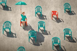 Womanholding up an umbrella in a desert sitting through many red and teal chairs.