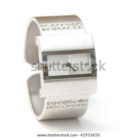 womanish watch  on the white isolated background. jeweller decoration