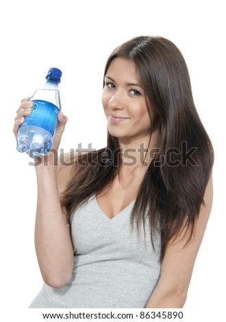 Womanl hold bottle of pure still drinking water. Female holding in hand sparkling mineral bottled water isolated on a white background