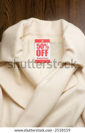 womans jacket with 50% off tag