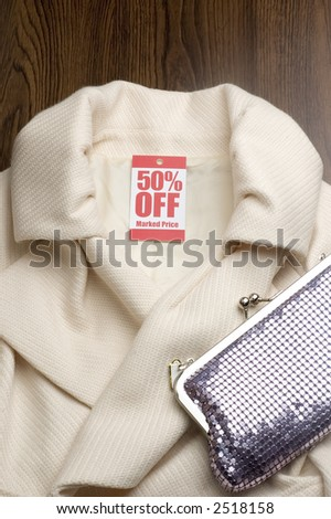 womans jacket with sale tag