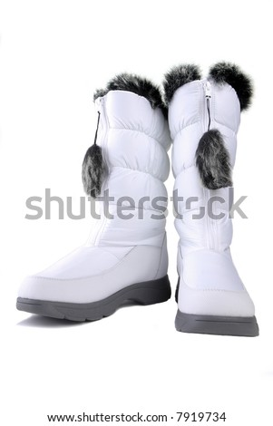 Womans White Winter Snow Boots With Synthetic Fur Lining
