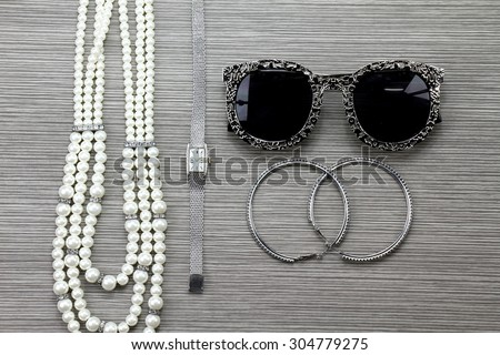 Women accessories, Still life of fashion woman. Overhead of essentials fashion woman objects.