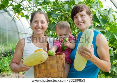 Women and baby  with  harvested vegetables in greenhouse