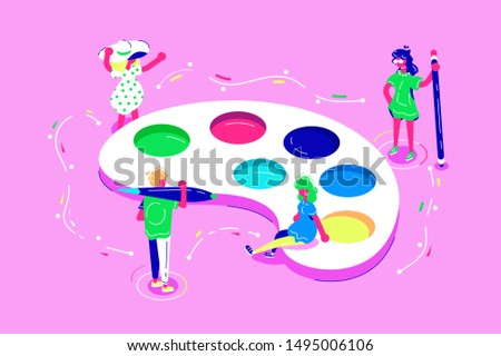 Women and man during creative process illustration. Team of artists working at something with palette colorful watercolor in lab flat style concept. People with professional tools