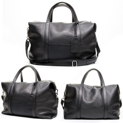 women and men accessories on white background, black leather bag