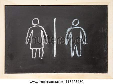 women and men sign drawn with chalk on blackboard