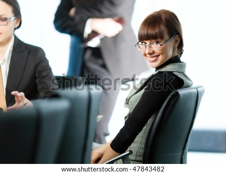 Women and nice girl in glasses with smile