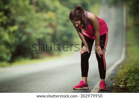 Women are tired From jogging on a steep slope