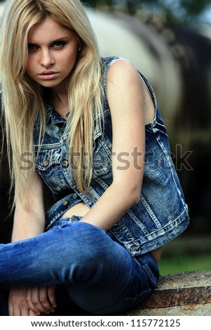 Women assessing glance. blond, women, hair, human, model, fashion, portrait, - stock photo