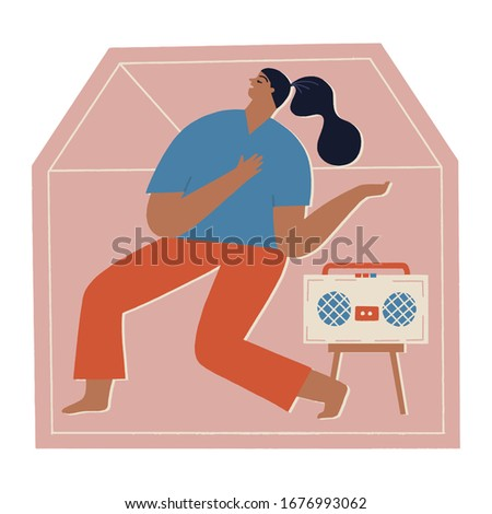 Women at home listening the music, dancing and singing in period of self isolation and social distancing during covid virus epidemic. Stay home global period illustration.