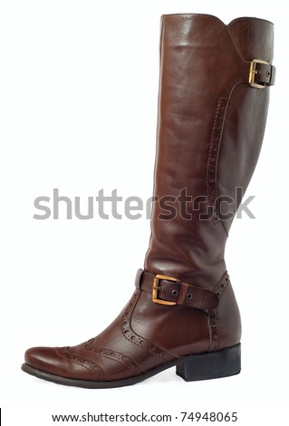 women brown leather boots with brass buckle isolated on white - stock