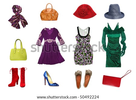 Women clothes and accesories set isolated on white