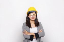 women construction workers. Smiling woman architect Isolated portrait on white background.