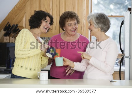 Women conversing at a tea party.