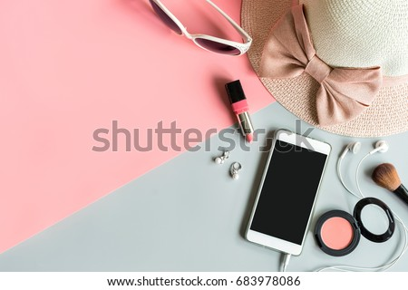 women cosmetics and fashion items on color background with copy space, Top view