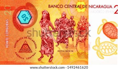 Women dancers. Palo de Mayo (Maypole) celebration or Mayo Ya Festival. portrait from Nicaragua 20 Cordobas 2014 Banknotes. Nicaraguan money Closeup Collection. #1492461620