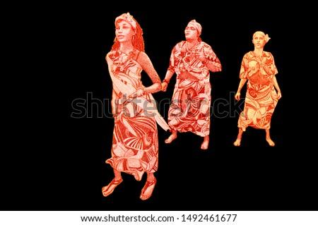 Women dancers. Palo de Mayo (Maypole) celebration or Mayo Ya Festival. portrait from Nicaragua 20 Cordobas 2014 Banknotes. Nicaraguan money Closeup Collection. #1492461677