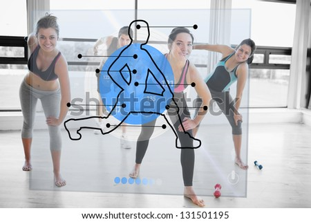 Women doing exercise with futuristic blue interface demonstration and trainer