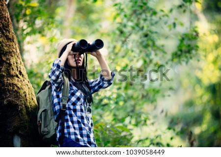 Women drink water hiking.adventure, travel, tourism.,Women drink water hiking.adventure, travel, tourism. #1039058449