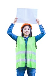 women engineer with reflector vest show blank paper tag with isolated background