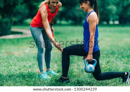 Women Exercising Outdoors, Park, Nature #1300244239