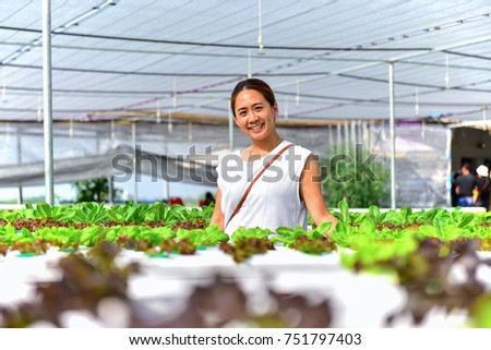 Women farmer are taking care of young vegetables in smart hydroponics farm