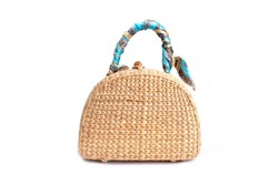 women fashion handbag with Woven or straw bag handmade bag Thai handicraft weave from natural materials, For caring environment reduce the use of plastic bags