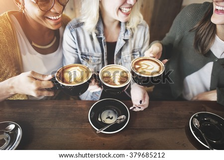 Women Friends Enjoyment Coffee Times Concept #379685212