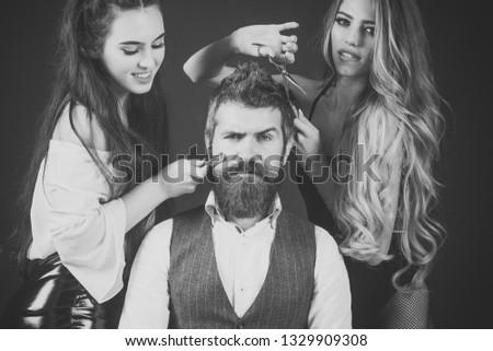 Women, girls with comb, scissors cut hair. girls or women make haircut for man #1329909308