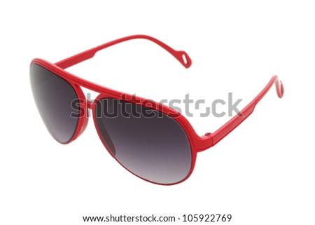 Women glamorous red sunglasses isolated on white