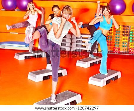 Women group in aerobics class.