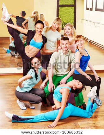 Women group in aerobics class.  Fitness ball.