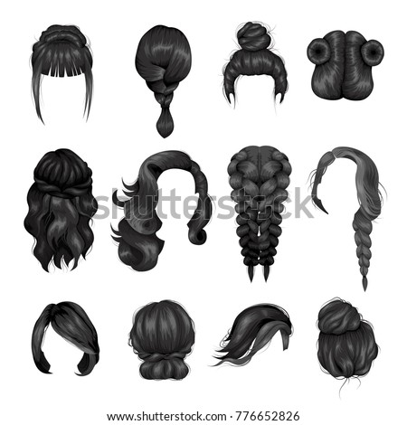 Women hairstyle wigs false and natural hair pieces front and back view  black icons collection isolated  illustration