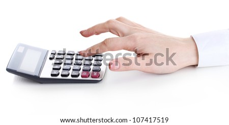 women hand and Calculator isolated on white - stock photo