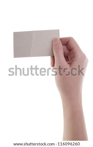 Women hand holding blank card